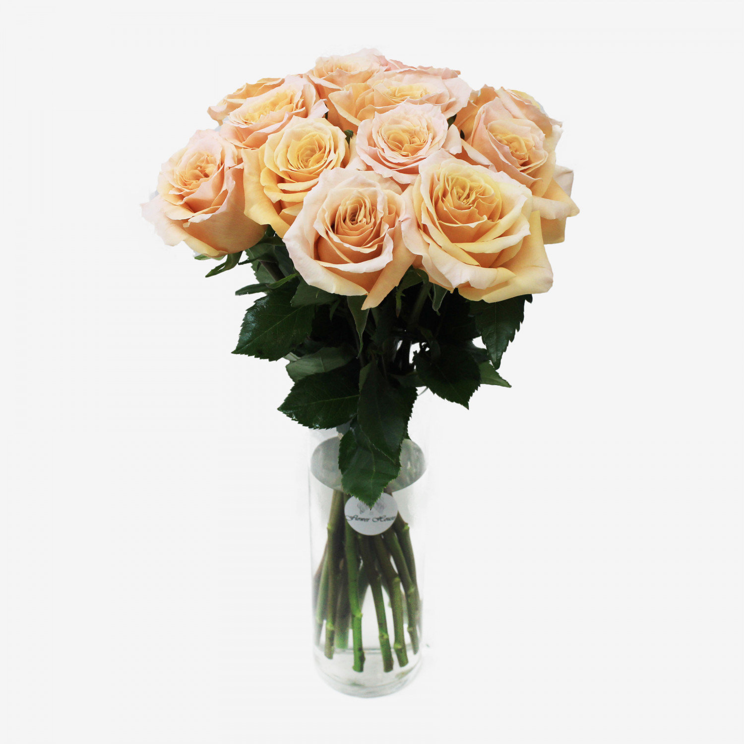 12 Peach Shimmer Rose Bouquet