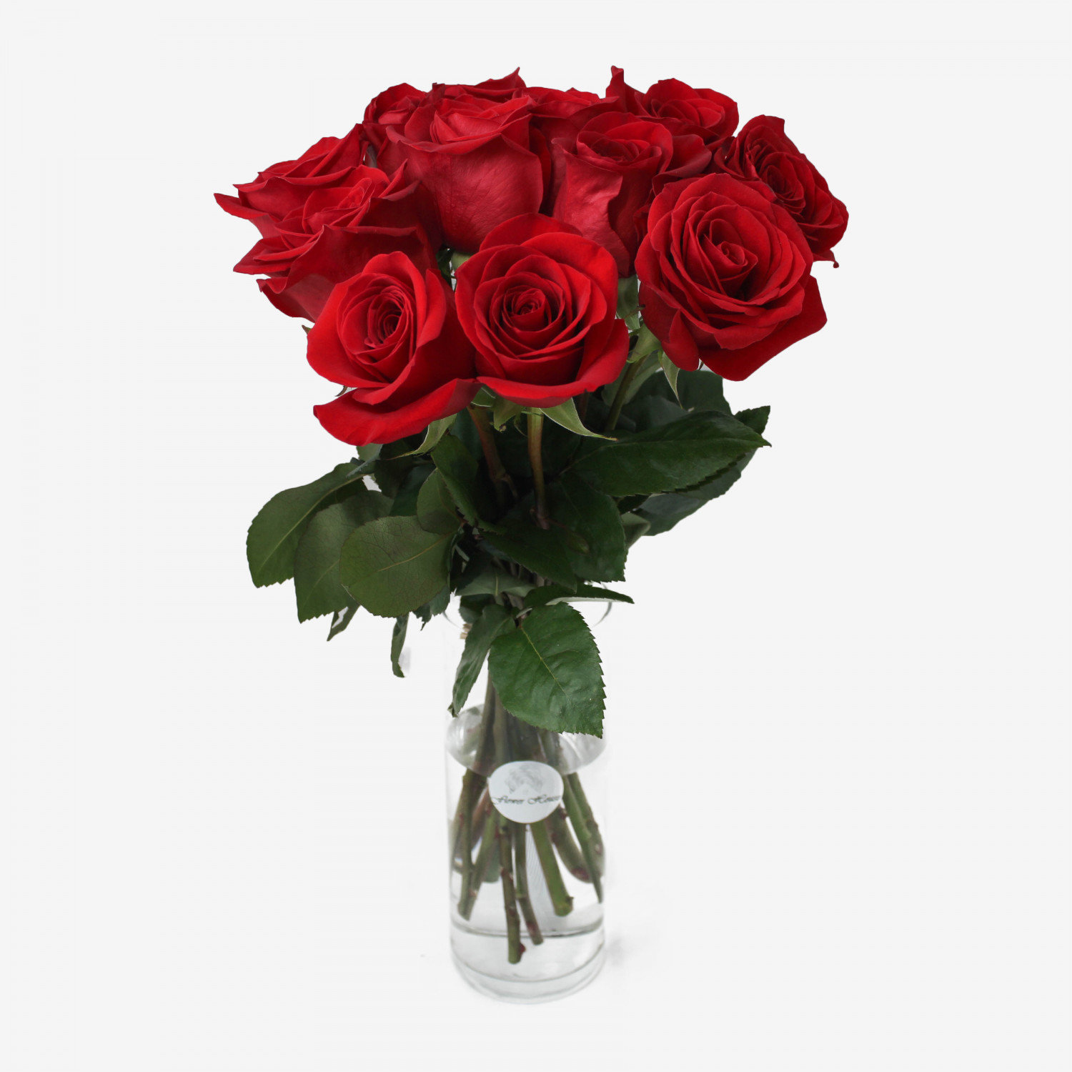 12 Red Freedom Roses Bouquet