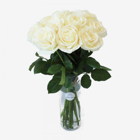12 White Playa Blanca Rose Bouquet