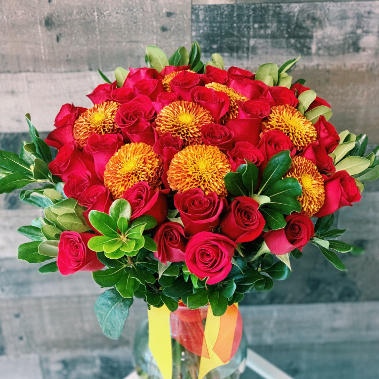 Golden Red Hand-Tied Bouquet