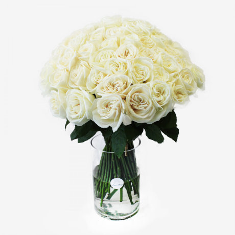 75 White Playa Blanca Rose Bouquet