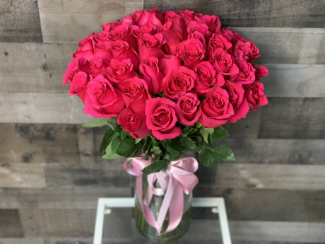 50 Hot Pink Roses Bouquet