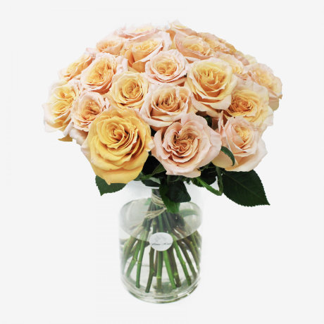 25 Peach Shimmer Rose Bouquet