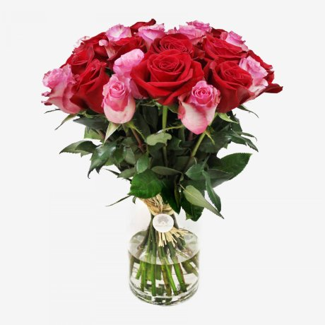 25 Freedom Red And Pink Floyd Roses Bouquet