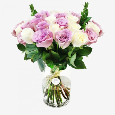 18 White And Purple Roses Bouquet